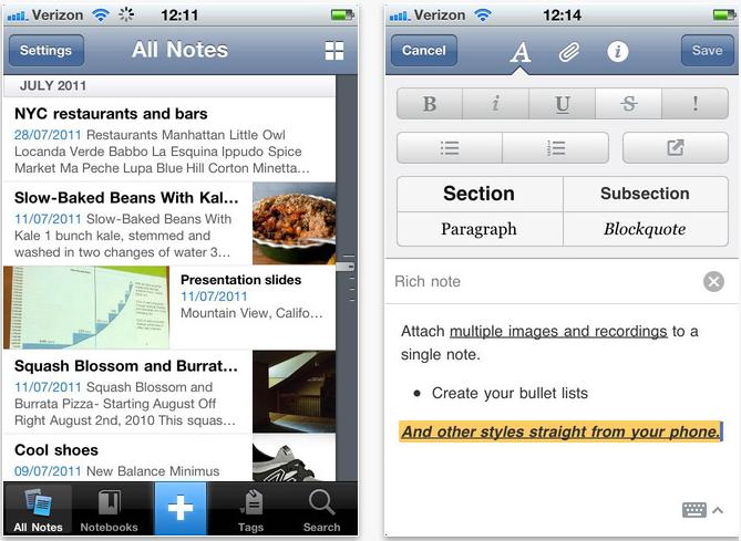evernote iphone app screenshot