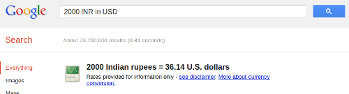 Google search currency converter