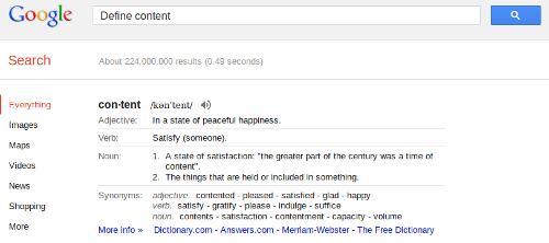 Google Search Dicitionary