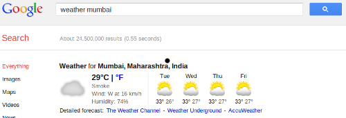 Google search Weather Forecast