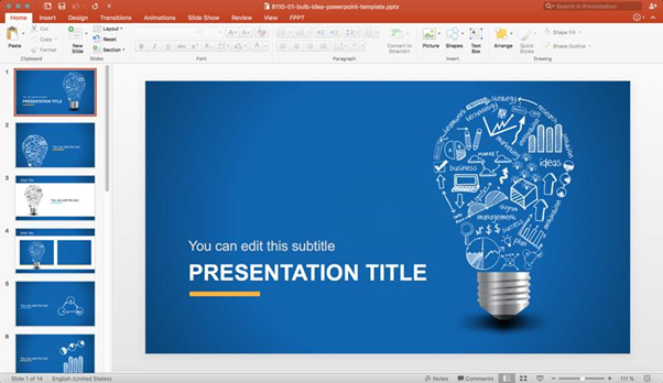 Presentation template example with blue background slide and light bulb graphics.
