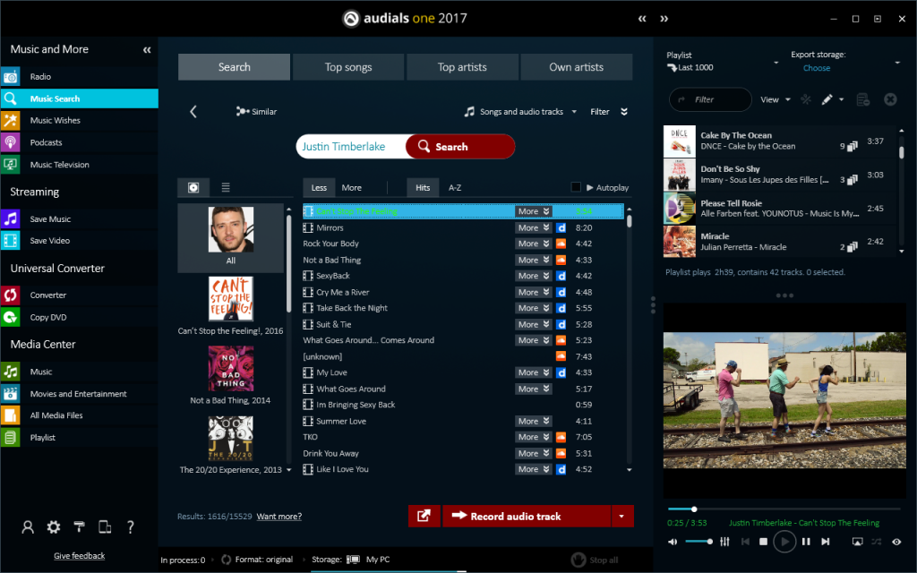 music search Audials